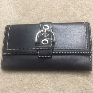 Auth Coach black leather soho buckle wallet